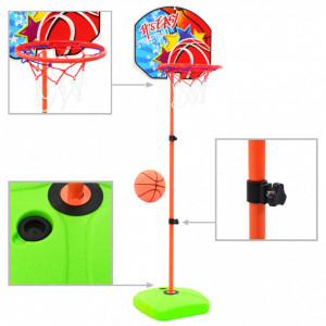Set cu minge și coș de baschet pentru copii