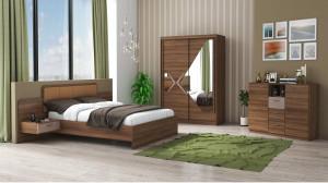 Set Dormitor Domino, Nuc, Dulap 200 cm, Pat 160x200 cm, 2 noptiere, comoda