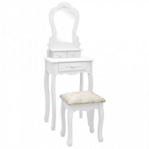 Set masă de toaletă cu taburet alb 50x59x136 cm lemn paulownia
