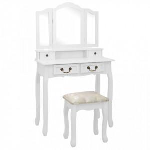 Set masă de toaletă cu taburet alb 80x69x141 cm lemn paulownia