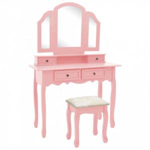 Set masă toaletă cu taburet roz 100x40x146 cm lemn paulownia