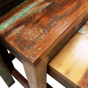 Set mese suprapuse, 3 piese, vintage, lemn reciclat