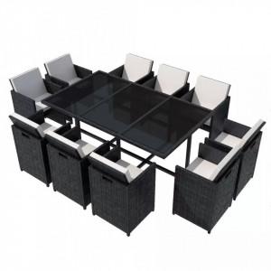 Set mobilier de exterior cu perne, 11 piese, negru, poliratan