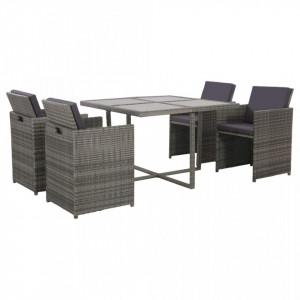 Set mobilier de exterior cu perne, 5 piese, gri, poliratan
