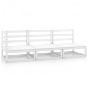 Set mobilier de grădină, 3 piese, alb, lemn masiv de pin