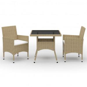 Set mobilier de grădină, 3 piese, bej, poliratan și sticlă