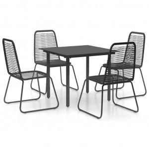 Set mobilier de grădină, 5 piese, negru, ratan PVC