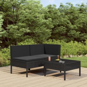 Set mobilier de grădină cu perne, 3 piese, negru, poliratan