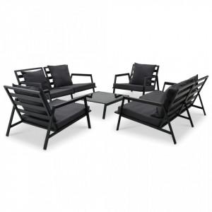 Set mobilier de grădină cu perne, 5 piese, gri închis, aluminiu
