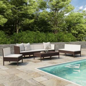 Set mobilier de grădină cu perne, 9 piese, maro, poliratan