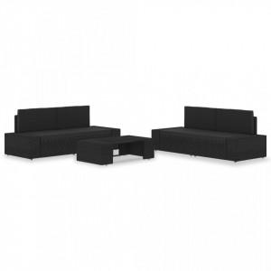 Set mobilier grădină, 5 piese, negru, poliratan