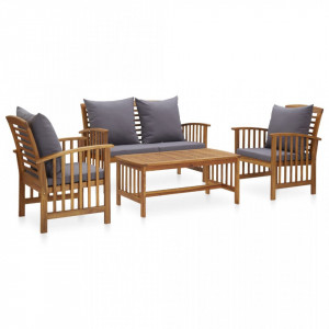 Set mobilier grădină cu perne, 4 piese, lemn masiv de acacia
