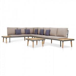 Set mobilier grădină cu perne 5 piese, maro, lemn masiv acacia
