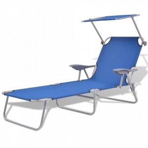 Șezlong de plajă cu baldachin, albastru, oțel