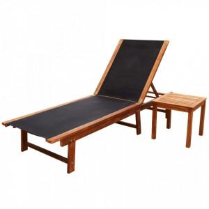 Șezlong de plajă cu masă, lemn masiv de acacia & textilenă