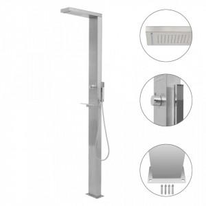 Sistem panou duș de grădină, oțel inoxidabil, pătrat