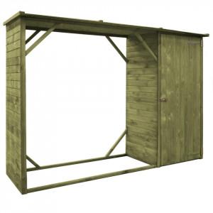 Șopron lemne și scule de grădină, 253x80x170 cm, lemn pin FSC