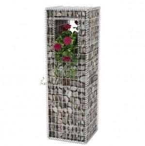 Stâlp coș gabion/jardinieră din oțel, 50 x 50 x 160 cm