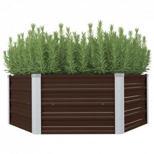 Strat înălțat de grădină, maro, 129x129x46 cm, oțel galvanizat