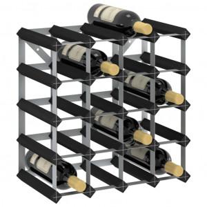 Suport de vinuri, 20 sticle, negru, lemn masiv de pin