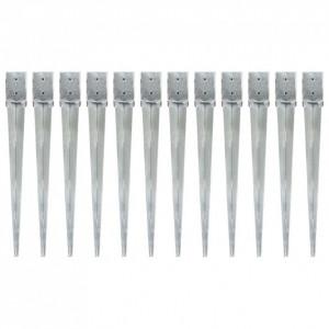 Țăruși de sol, 12 buc., argintiu, 10x10x91 cm, oțel galvanizat