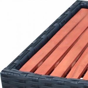 Treaptă pentru spa, poliratan, 92 x 45 x 25 cm, negru