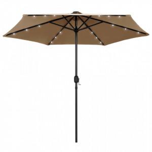 Umbrelă de soare cu LED și stâlp aluminiu, gri taupe, 270 cm