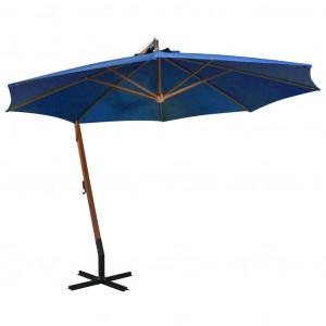 Umbrelă suspendată cu stâlp, albastru azur, 3,5x2,9 m lemn brad