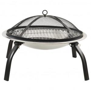 Vatră de foc 2-în-1 cu grătar/vătrai, 56x56x49 cm, oțel inoxidabil