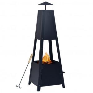 Vatră de foc, negru, 35 x 35 x 99 cm, oțel