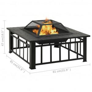 Vatră de foc pentru grădină, cu vătrai, 81x81x47 cm, oțel, XXL