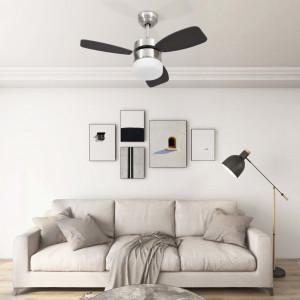 Ventilator tavan cu iluminare și telecomandă, maro închis, 76cm