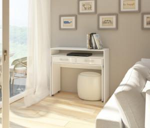 Zoom (Birou Extensibil) White/White High Gloss