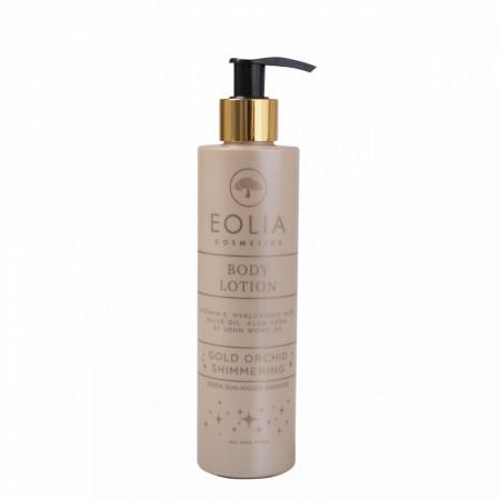 Eolia Lotiune de Corp Naturala cu Sclipici Fin Auriu, Acid Hialuronic, Vitamina E si Orhidee Aurie 250 ml / 8.45 fl. oz