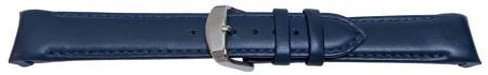 Curea piele lina capat curbat albastru inchis 18mm - 58009