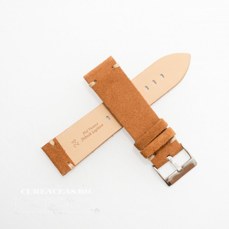Poze Curea piele maro deschis, nubuk vintage 22mm - 4170322
