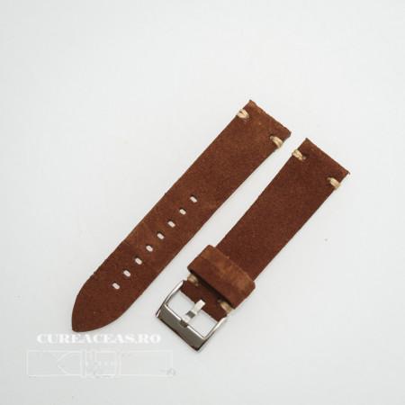Curea piele maro închis, nubuk vintage 24mm - 4170224