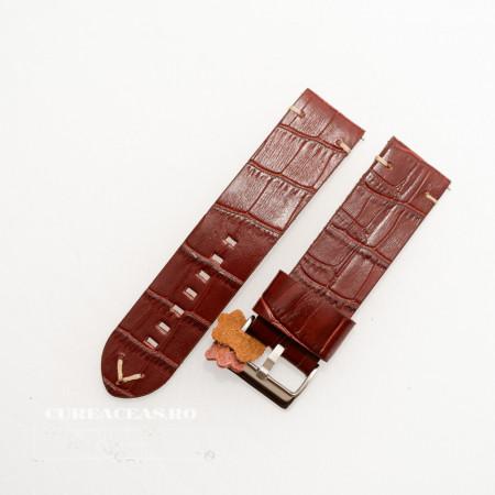 Poze Curea piele maro roșcat model crocodil vintage QR 20mm - 4030820