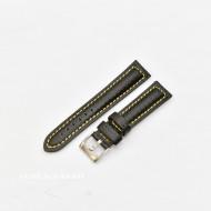 Curea piele tip fibra carbon neagră, cusătură galbenă, căptușită 18mm - 37418110