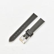Curea hibrid silicon si piele fibra carbon neagra cu alb 20mm - 4005820