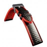 Curea hibrid silicon si piele fibra carbon neagra cu roșu 24mm - 4005324