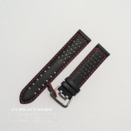Curea perforata neagra cu cusătură roșie 24mm - 3805324