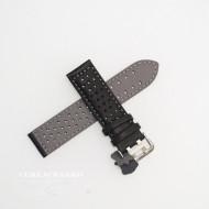 Curea perforata neagra cu cusătură gri 18mm - 3805418