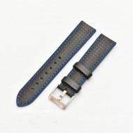 Curea hibrid silicon si piele fibra carbon neagra cu albastru 22mm - 4005222