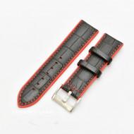 Curea hibrid silicon si piele model crocodil neagra cu rosu 24mm - 4205324