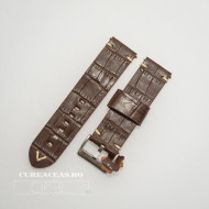 Curea piele maro închis model crocodil vintage QR 24mm - 4030224