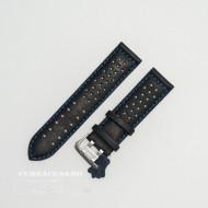 Curea perforata neagra cu cusătură albastră 22mm - 3805222