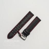 Curea perforata neagra cu cusătură roșie 18mm - 3805318
