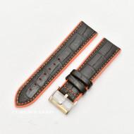 Curea hibrid silicon si piele model crocodil neagra cu portocaliu 24mm - 4205624