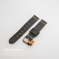 Curea piele neagră vintage QR 24mm - 4060124